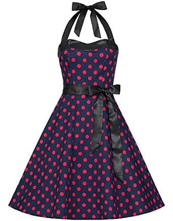 Zarlena Damen Rockabilly Kleid Polka Dots Punkte Tupfen Retro 50er Neckholder Blau mit pinken Dots XS 614--XS