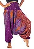 Lofbaz Women's Peacock 2 in 1 Harem Trousers Jumpsuit One Size Purple C