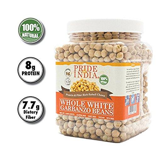 Pride Of India indische ganze weiße Kichererbsebohnen 10mm Protein & ballaststoffreiche Kabule chana, 3 Pfund jar