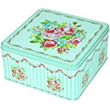 Enwraps Green Big Roses Square Multipurpose Metal/Tin Utility Box For Home/Kitchen/Wedding/Casual Gift. LBH(inches)-9x9x4.5