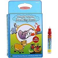 Zerodis Libro de colorante de agua Libro de dibujo de agua mágica Tablero de pintura reutilizable con pluma Juguete de aprendizaje educativo Regalos para bebé de niño(#1)