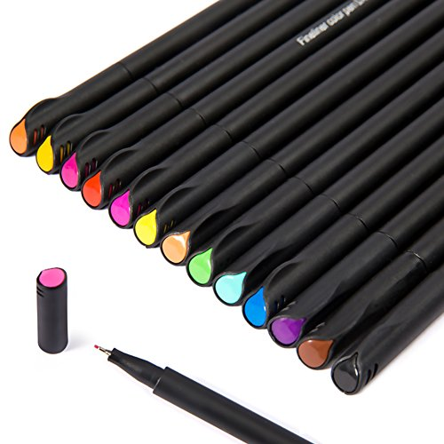 Amorar 12/24 Farben Fineliner Color Pen Set, 0,38 mm Farbig Feiner Liner Point Sketch Zeichnung Schreibstifte, Poröse Fein Punkt Zeichnung Marker für Bullet Journaling und Notizen, Kunst Projekte Schulbedarf (Feine Punkt-marker Farbe)