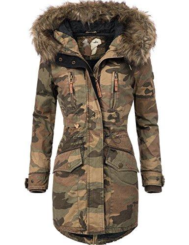 Khujo Damen Winter Mantel Winterparka YM-JA Camouflage Gr. L