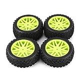 Funnyrunstore Universal 4pcs 1/10 Scale Off Road Buggy Tires Llantas con Orificio en V Juego de bujes hexagonales Delanteros y Traseros de 12 mm con Inserciones de Espuma (Verde y Negro)