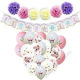 WERNNSAI Baby Shower Decorazioni per Neonata Rifornimenti di Unicorno per Feste IT'S A GIRL Striscioni Ghirlanda Fiori di Carta Pompon Palloncini di Coriandoli Palloncini in Lattice Bianco Rosa Nastri