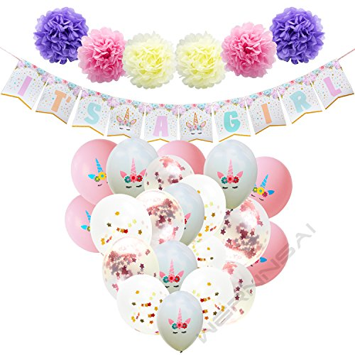 Dekorationen für Mädchen Einhorn Partyzubehör IT'S A Girl Girlande Banner Papierblumen Pompons Konfetti Ballon Rosa und Weiße Luftballons Bänder 38 Stücke ()