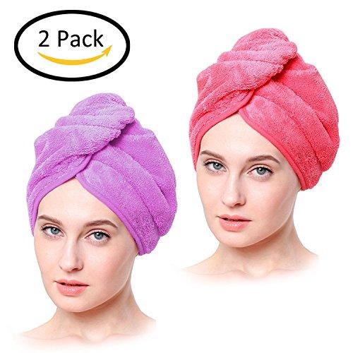 HighCool Trockenes Haar Gap,Superfine Fiber Soft Handtuch Bad Head Wrap Turban schnell trocken Twist für nasses Haar(2er Pack, Lila und Rose)
