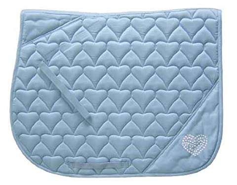 Derby Originals Crystal Hearts Quilted Saddle Pad, Sky Blue