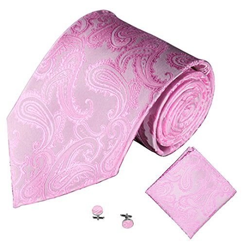 SOMESUN Gewebtem Jacquard Herren Krawatten Taschentuch Manschettenknopf 3PCS Paisley Cashew Taschen (rosa)