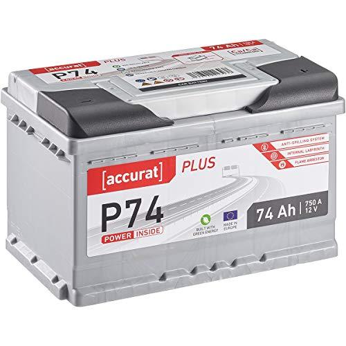 Accurat Plus Serie 12V 74Ah Auto Batterie 750A Starterbatterie Blei-Säure Autobatterie KFZ Batterie (wartungsfrei)