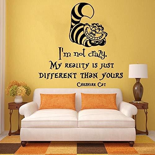 Vinyl Wandbild Kinder Schlafzimmer Babys Zimmer Dekor Alice im Wunderland Ich bin nicht verrückt Wandaufkleber Cheshire Sprüche Wallpaper 33X71cm - 33 Formel