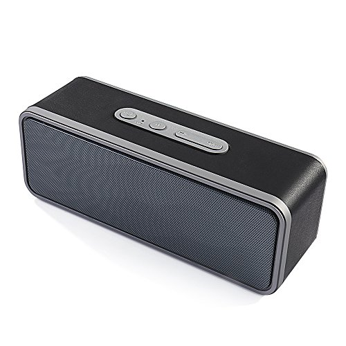 Bluetooth Speakers,AIRED Portable Hi-Fi Subwoofer With Stereo Surround,Built-in Microphone,Bluetooth 4.0,15-hour Playtime,Leather Covering for iPhone,Samsung and Laptop (Black)