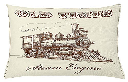 illow Cushion Cover, Old Times Train Vintage Hand Drawn Iron Industrial Era Locomotive, Decorative Square Accent Pillow Case, 18 X 18 inches, Ivory Pale Caramel ()