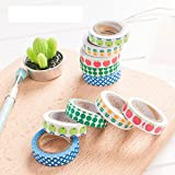 #9: 5 Japanese Washi Masking Tapes (10mm x 5 Meters) + 5 Rolls Glittering tapes (15mm x 3 Meters) Decorative Sticky Paper Adhesive DIY Tape Set Scrapbooking Art Craft Colorful Label for School Office Birthday Party Dairy Notebook Wrapping, Craft Gift Trim.
