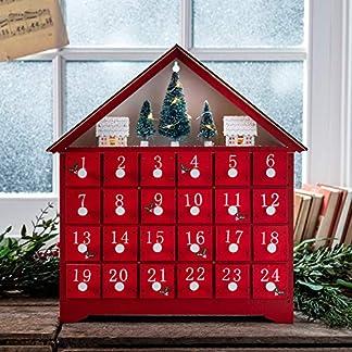 Lights4fun – Calendario De Adviento de Madera Roja con Figuras Navideñas y LED Blanco Cálido a Pilas