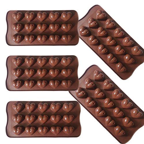 Narutal Home(TM) 5 Tafel x Silikon Schokoladenform 15 Köstlichkeiten Süße Herzen