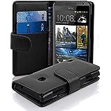 Cadorabo - Funda HTC DESIRE 300 Book Style de Cuero Sintético en Diseño Libro - Etui Case Cover Carcasa Caja Protección con Tarjetero en NEGRO-ÓXIDO