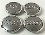 Set von 4 Audi Leichtmetallrad Badges Central Radkappen grau 69 mm 4B0601170A S3 S4 A2 A3 A4 A6 A8 TT RS4 Q5 Q7, S3 S4 A6 S6 RS6 TT und weitere Modelle (69 mm)