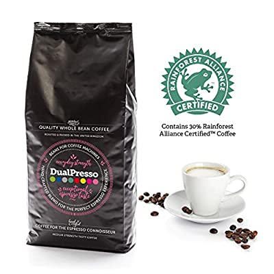 Dualpresso Whole Coffee Beans 1Kg - Perfect for Espresso and Bean to Cup Machines