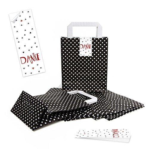 Paper-media - 5 sacchetti di carta con manico, 18 x 8 x 22 cm, con 5 adesivi, motivo cuori rossi