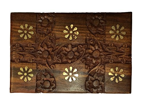 Cadeau pour Noël ou d'anniversaire de vos proches Bois Handcrafted Indian Jewelry Box Brass conception Inlay Fleur unique 6 x 4 pouces