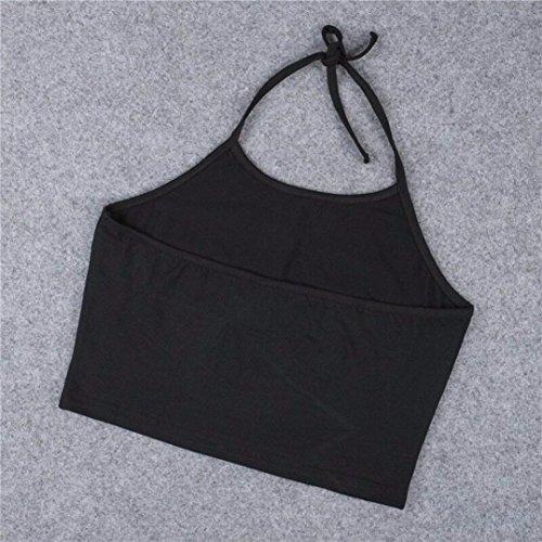 Bluestercool Femmes Gilet sans manches Halterneck Lettre Blouse Chemise Noir