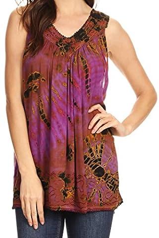 Sakkas 17501 - Sana Tie Dye Sleeveless Embroidered V-Neck Tank Tunic Top Blouse / Cover Up - Purple - OS