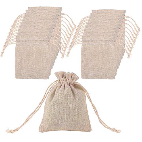 20 Pezzi Sacchetti di Cotone Mussola Sacchettini Coulisse Sacchetto di Mussola per Bomboniera della Festa di Matrimonio e Bricolage Fai Da Te, 4.7 per 3.5 Pollici