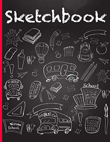 Sketchbook: Sketch Book For Kids With Fun Chalkboard Cover Design & Red Trim - Create Art With Large Blank Pages To Practice Drawing Skills Trim Moleskin