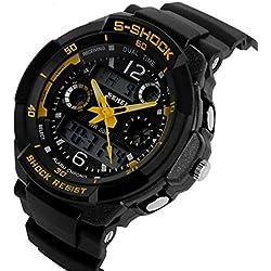 ETOWS® Boys Girls Sport Digital Watch Quartz Led Watch 50M Waterproof Students Children''s Wrist Watch (Yellow)