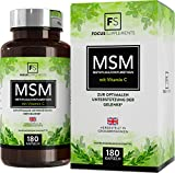 Capsule di MSM (metilsulfonilmetano) con vitamina C - 180 capsule | VELOCIZZA IL RECUPERO MUSCOLARE | Supporto antiossidante e articolazioni | Prodotto in UK in strutture certificate ISO (1 Flacone)