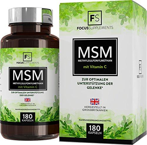 MSM (Methylsulfonylmethan) 1200mg mit Vitamin C – 180 Kapseln | ZUR MUSKELREGENERATION | Hergestellt in ISO-zertifizierten Betrieben in GB (1 Flasche)