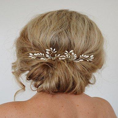 zhENfu Ensemble de 2 Les femmes exqusite Stick cheveux broche pour Mariage Bijoux de cheveux avec Pearl Crytsal,Coiffure blanc