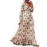 Btruely Kleid Damen Elegant Boho Abendkleid Sommerkleid Strandkleid Vintage Partykleid A-Line Cocktailkleid Frauen Langarm Kleid Lange Chiffon-Kleid (XL, Weiß)