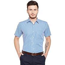 Hancock BlueChecked Slim Fit Formal Shirt