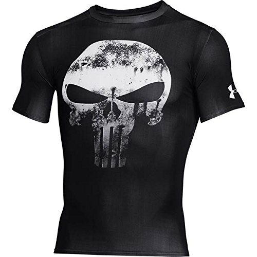 Under Armour Alter Ego Comp Punisher Team - T-shirt a compressione per uomo, colore: Bianco/Nero, Uomo, Alter Ego Comp Punisher Team-blk//wht, nero, XL