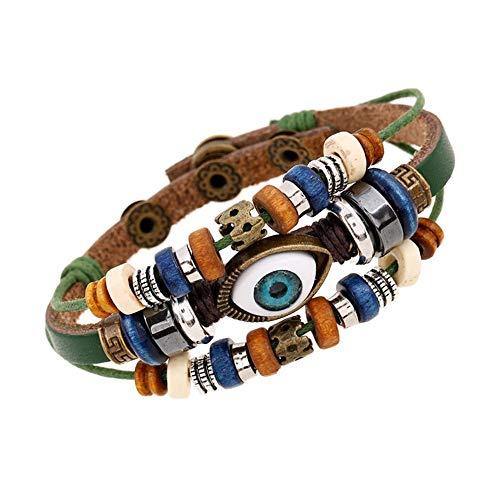 Mens rock bracelet regalo della catena dell'involucro della catena del cuoio del braccialetto del polsino del braccialetto del polsino del braccialetto di multi strato di modo braccialetti per regalo