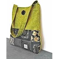 Borsa a spalla color verde e batik fantasia floreale -