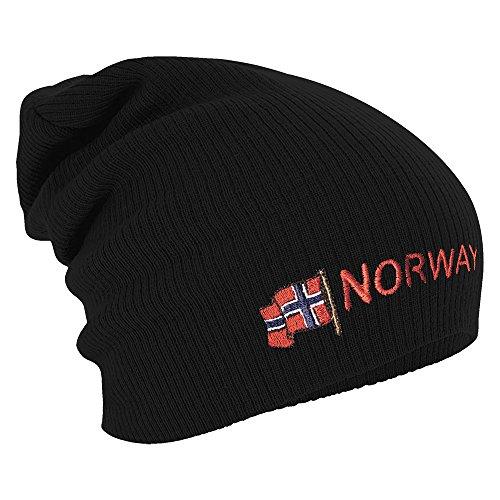 Longbeanie Slouch-Beanie Mütze Norwegen mit Fahne 54594 Farbe schwarz
