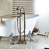 Galvanik Retro Wasserhahn frei stehende Dual Griffe Floor Mount Wasserfall Badewanne Wasserhahn Messing antik Bad Badewanne Füller, Schokolade