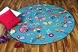 Snapstyle Kinder Spiel Teppich Schmetterling Türkis Rund in 7 Größen