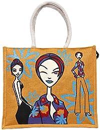 Maitri Jute Handbag | Shoulder Bag | Tote Bag | Cartoon Orange Square Shape Handbag, Multi-Coloured Shoulder Bag