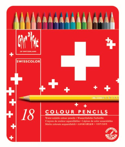 Caran d'ACHE - SWISSCOLOR Aquarelle Buntstifte in Metallbox - 18 Stück