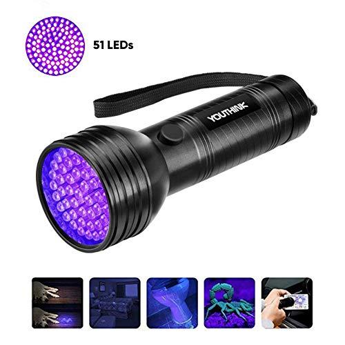 Linterna UV con 51 LED, Detector Ultravioleta de 395 nm para Detectar Orina de Mascotas en Alfombra...