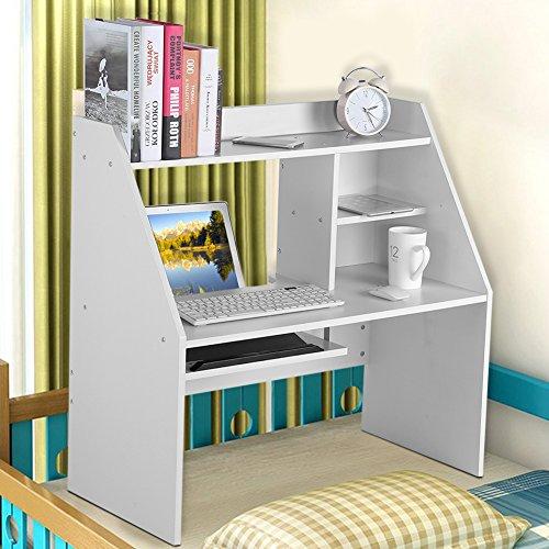 Holzregal Computertisch Laptoptisch Bürotisch Schreibtisch Perfekt verwendbar ist es im Bett der Studentenwohnheime oder zu Hause (Weiß) (Multi-funktion-laptop-tisch)