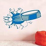 57x32cm, Adesivi murali, Adesivi per bambini, Hockey su ghiaccio sportivo, Disco che strappa scoppiando attraverso la decorazione Carta da parati Materiale illustrativo Adesivi gergali Ufficio d'arte