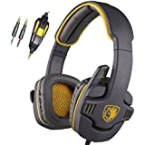 SADES SA708 3.5mm Surround Sound Stereo PC Gaming Headset Headband Headphones with Microphone Over-the-Ear Volume control(Yellow)