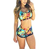 Minetom Damen Sexy Bikini-Sets Zweiteilig Vest Tops Shorts Hohe Taille