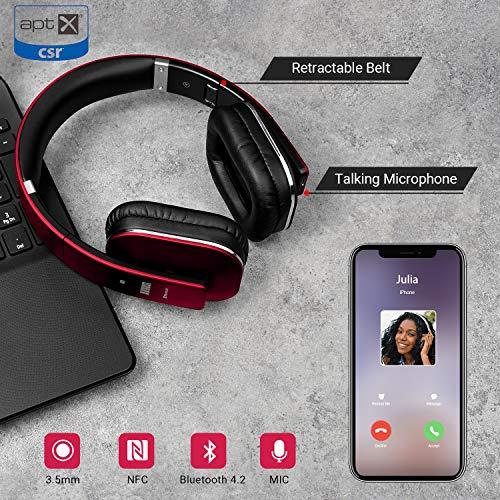 August EP650 Bluetooth v4.2 NFC Kopfhörer mit aptX Low Latency – Kabellose Over-Ear Headphones mit individuellem Sound (Rot) - 6