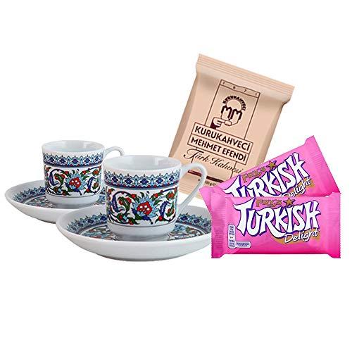 Türkisches Kaffeeservice für zwei - 2 Kaffeetassen & Untertassen mit 2 x Fry's Turkish Delight &...
